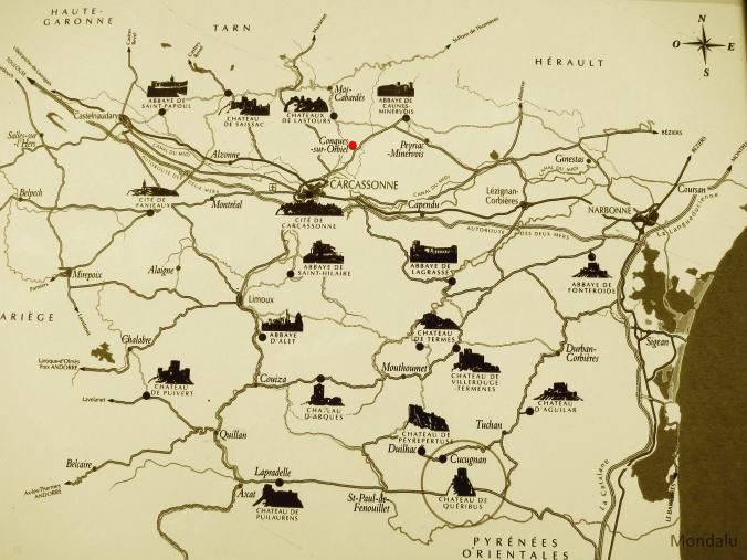 carte des châteaux cathares